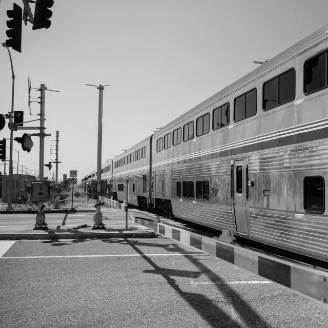 """Travelling Through California - Amtrak Train"" stock image"