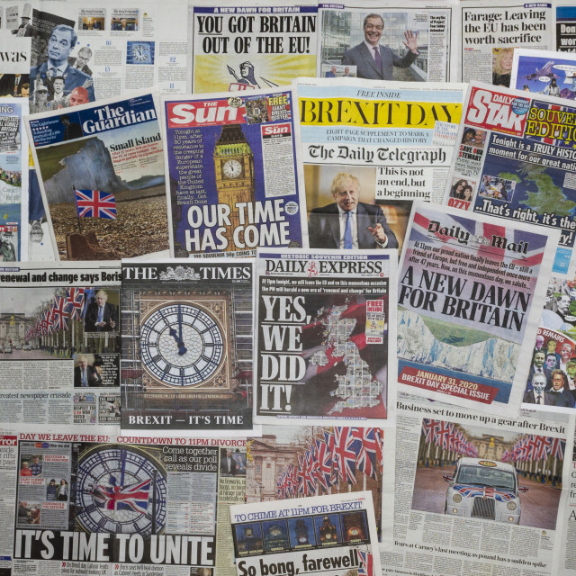 """British newspaper front pages reporting on Britain's Exit from the EU"" stock image"