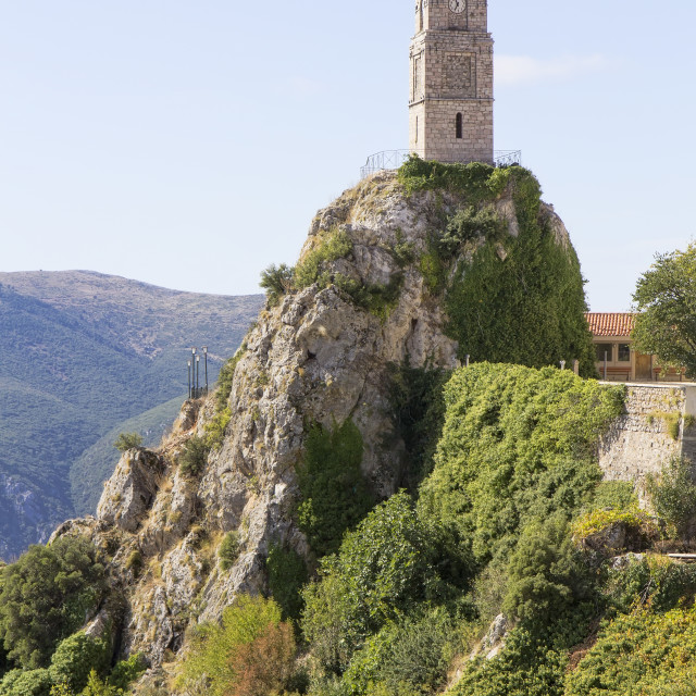 """View of iconic tower clock in Arachova village in Greece"" stock image"