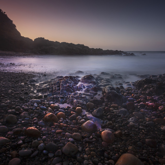 """""""Pebbles on Rotherslade Bay"""" stock image"""