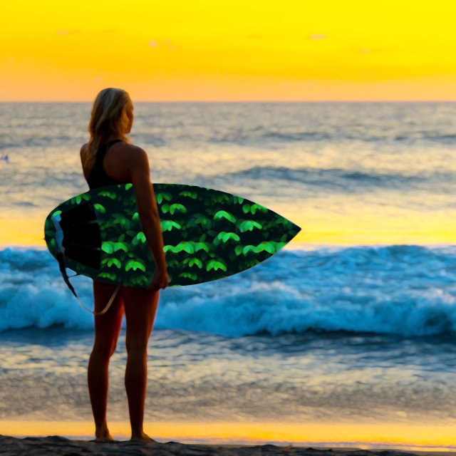 """Surfer at the coastline beach"" stock image"