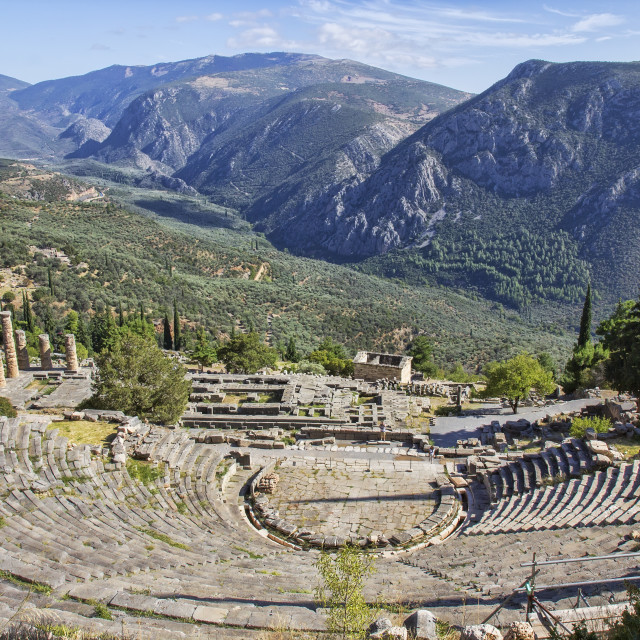 """Ruins of the ancient theatre and Temple of Apollo at Delphi, Greece"" stock image"