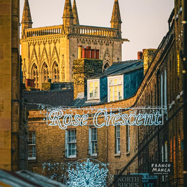 """Sunset on St Johns Chapel Cambridge"" stock image"