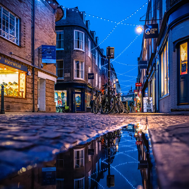 """""""Reflections from Green Street Cambridge UK."""" stock image"""