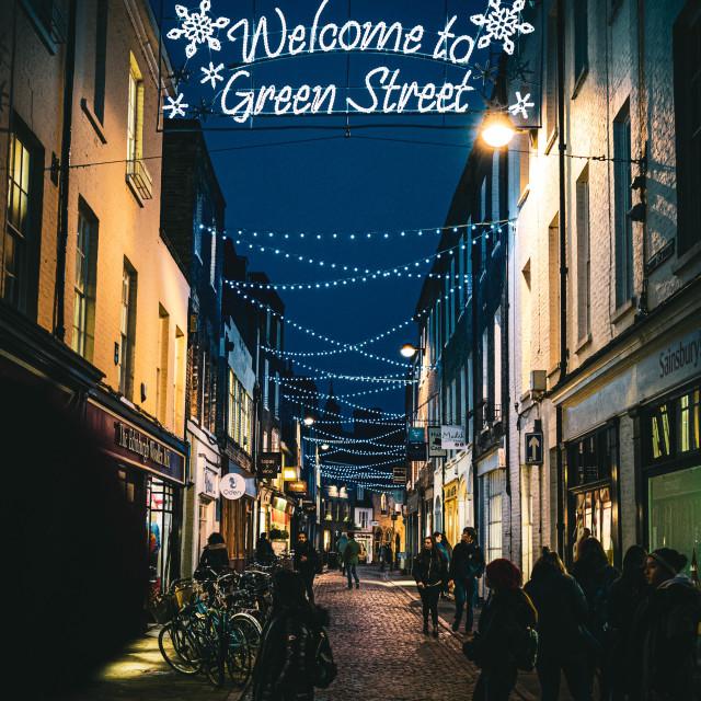 """Green Street Cambridge UK by night."" stock image"