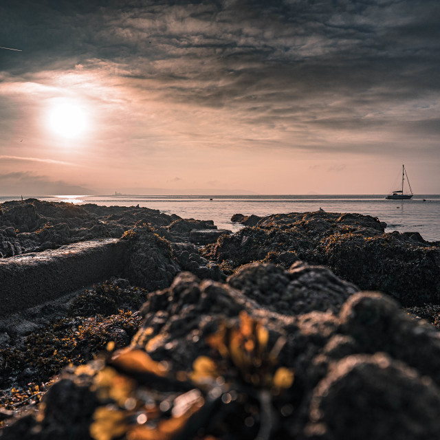 """Sunrise Kingsand Beach Cornwall UK."" stock image"