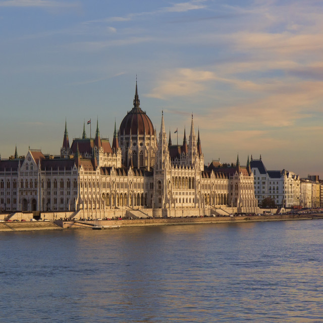 """Hungarian Parliament Building in Budapest at sunset"" stock image"