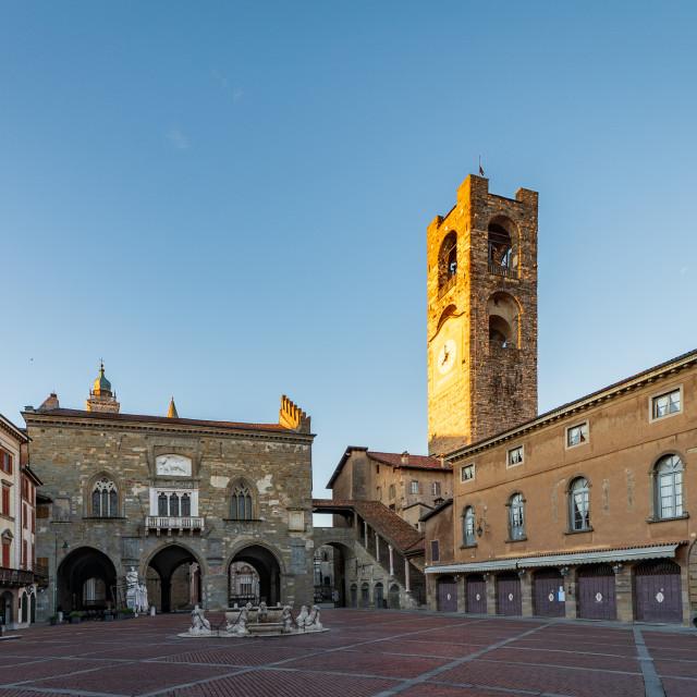 """Panorama of Piazza Vecchia"" stock image"
