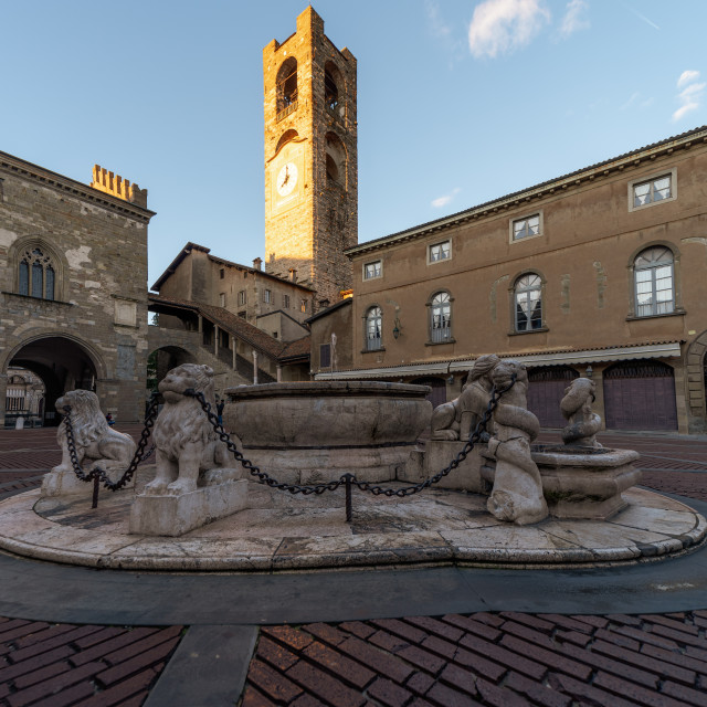 """""""Contarini Fountain and in the background the bell tower"""" stock image"""
