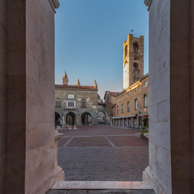 """""""Piazza Vecchia in Bergamo Alta seen from the arcades of the Coll"""" stock image"""