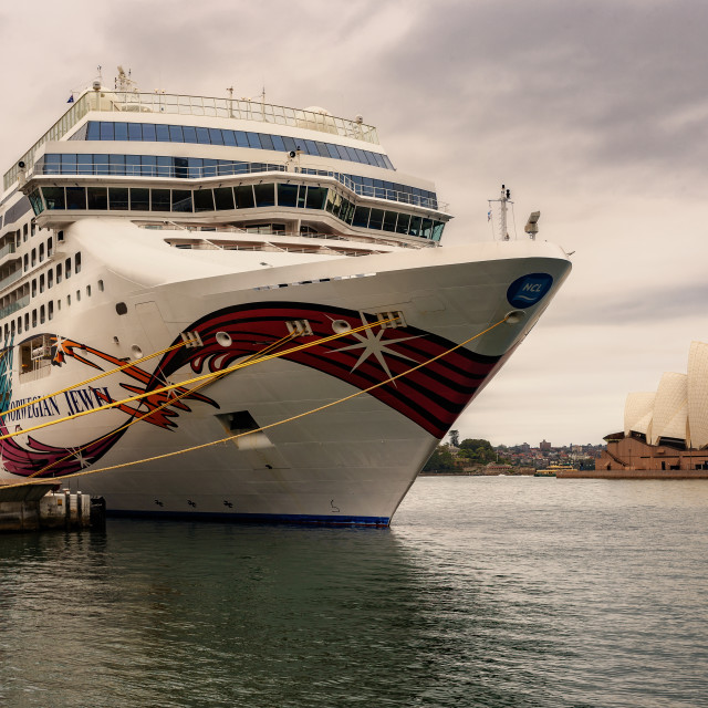 """""""cruise ship and the opera house"""" stock image"""