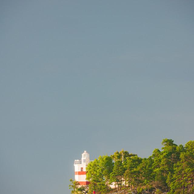 """Lighthouse under gray sky, Djurö Nationalpark, Vänern, Sweden, Europe"" stock image"