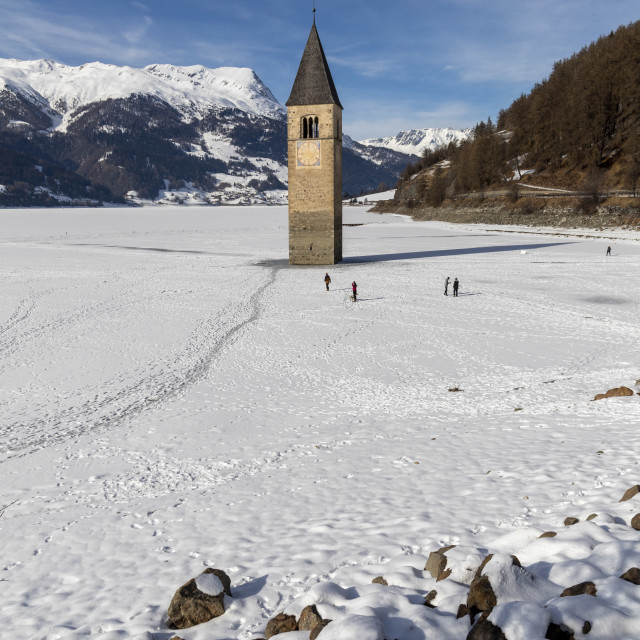 """""""Snow on the submerged bell tower of resia"""" stock image"""