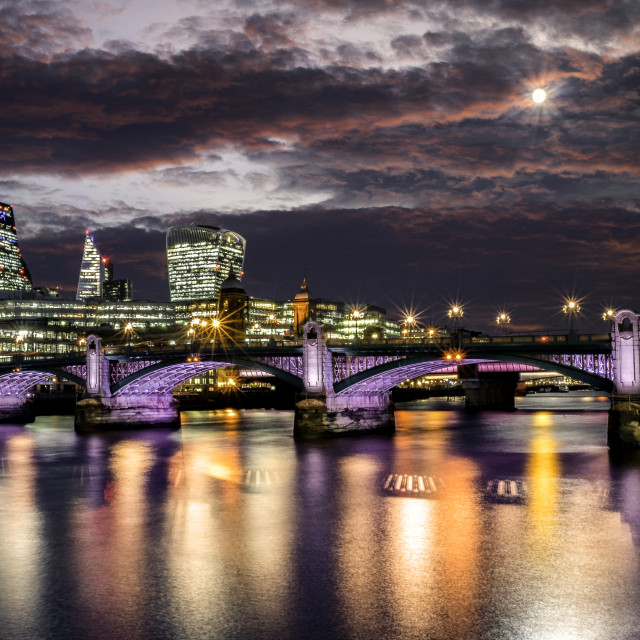 """""""Moon light over Central London and the Illuminated River Project at Southwark Bridge, South Bank."""" stock image"""