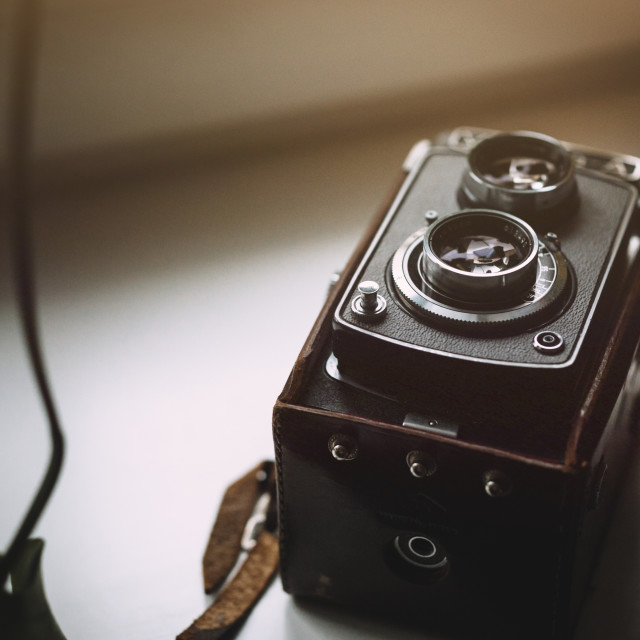 """Close up of vintage analog camera"" stock image"