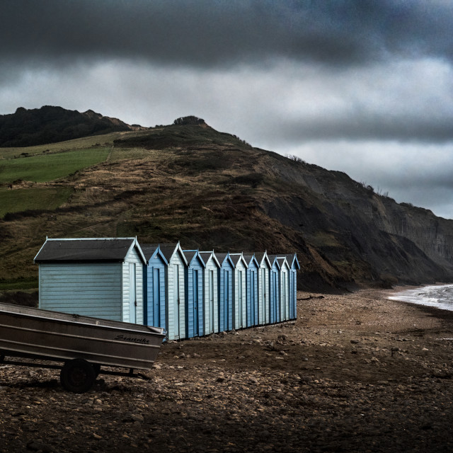 """Charmouth cold stormy beach"" stock image"