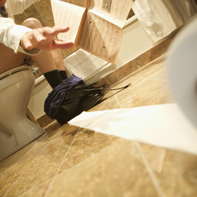 """Loosing the Loo Roll"" stock image"