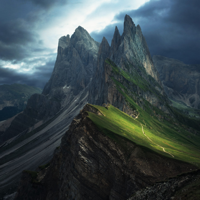 """""""Dark and moody mountains with dark skies"""" stock image"""