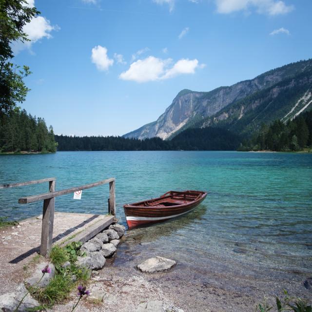"""Boat on Lago di Tovel"" stock image"