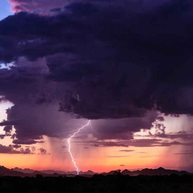 """""""Thunderstorm lightning bolt strike"""" stock image"""