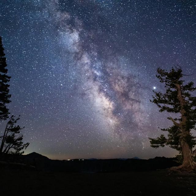 """""""The Milky Way over Crater Lake National Park"""" stock image"""