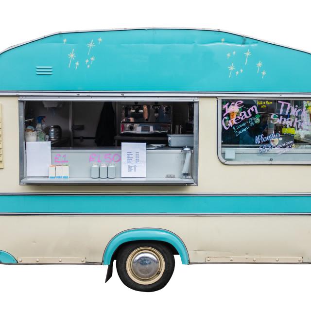 """Retro Vintage Food Truck Or Caravan"" stock image"