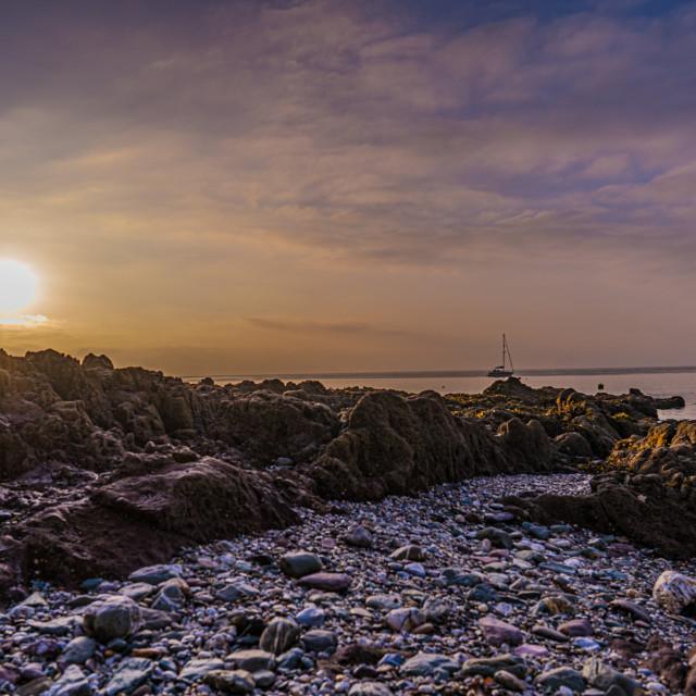 """Sunset from Kingsand Cornwall UK."" stock image"