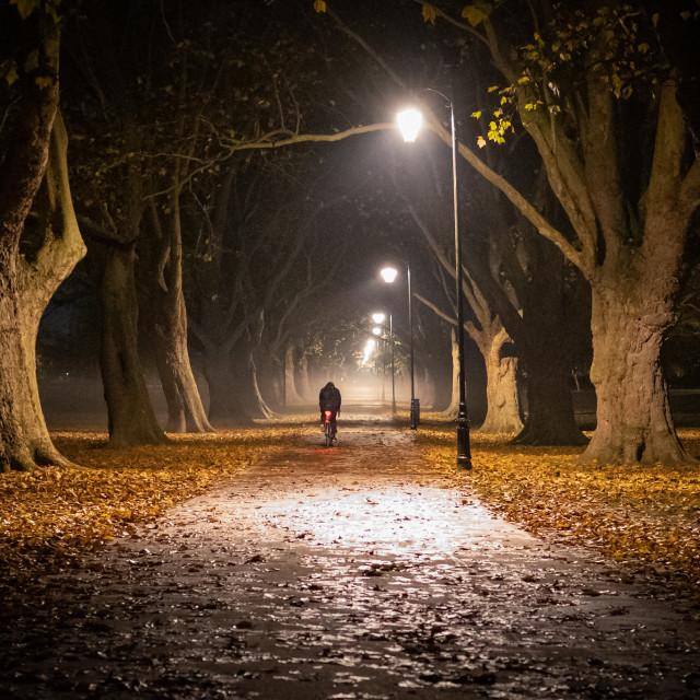"""Jesus Green footpath by night."" stock image"