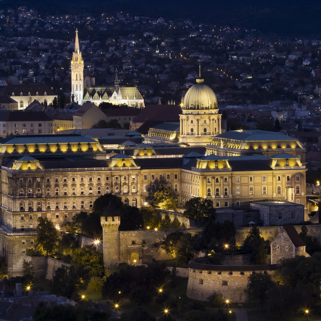 """Buda Castle at night on Castle Hill in Budapest, Hungary"" stock image"