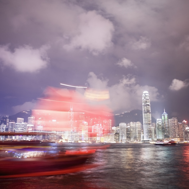 """Tourist boat and Hong Kong skyline"" stock image"