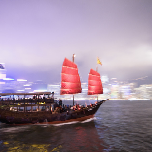 """""""Tourist boat in Hong Kong Harbour"""" stock image"""