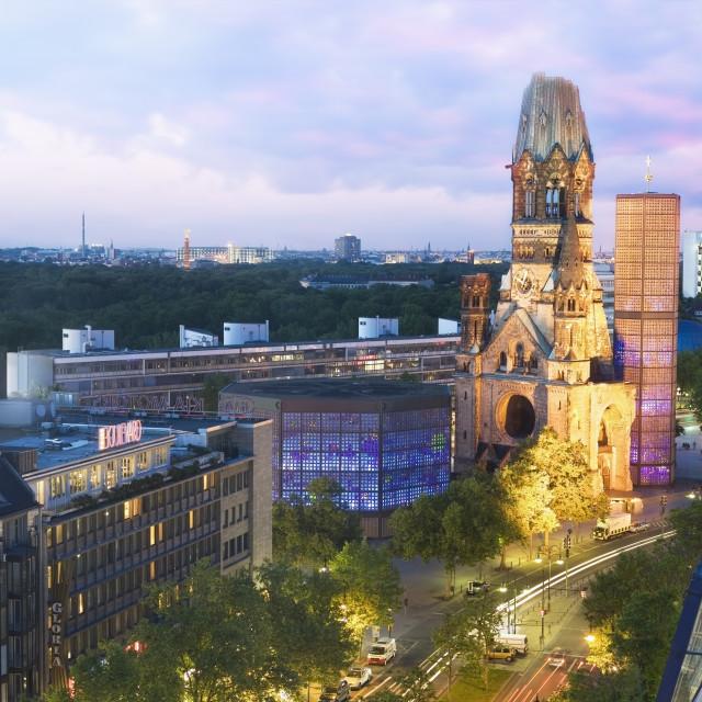 """Kaiser Wilhelm Memorial Church and Berlin Skyline at dusk"" stock image"