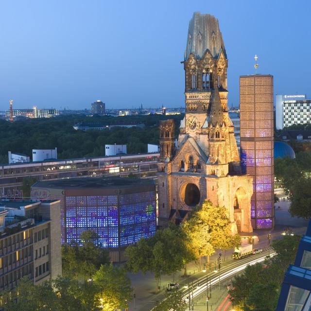 """""""Kaiser Wilhelm Memorial Church at dusk"""" stock image"""