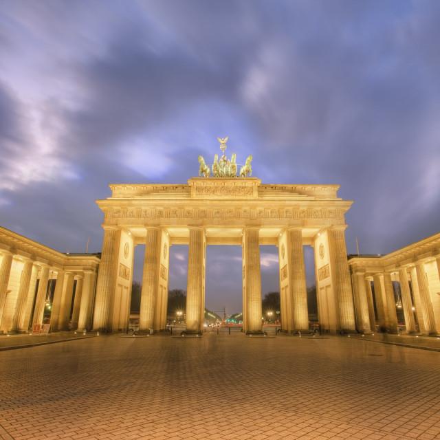 """""""Brandenberg Gate at dusk"""" stock image"""
