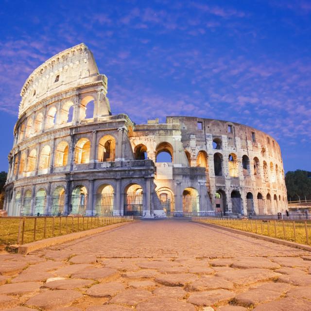 """The Colosseum illuminated at dusk"" stock image"