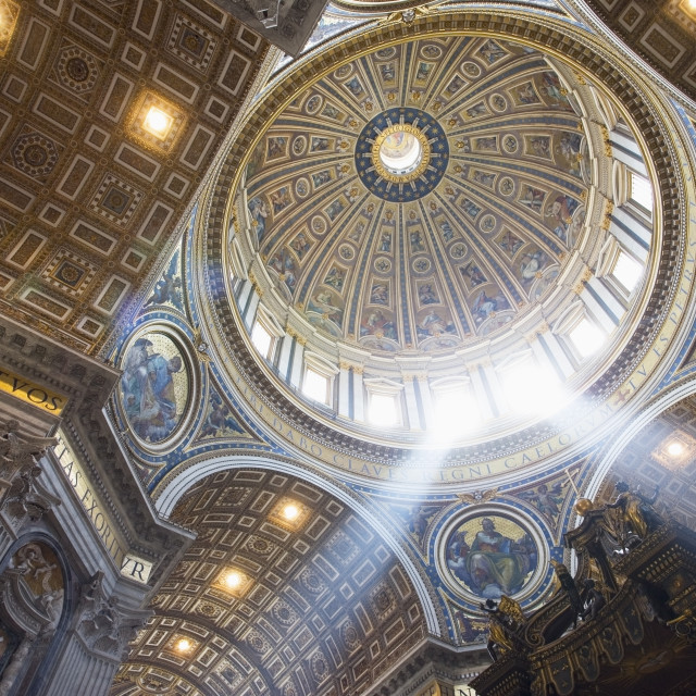 """""""The interior of the Dome of St Peter`s Basilica"""" stock image"""