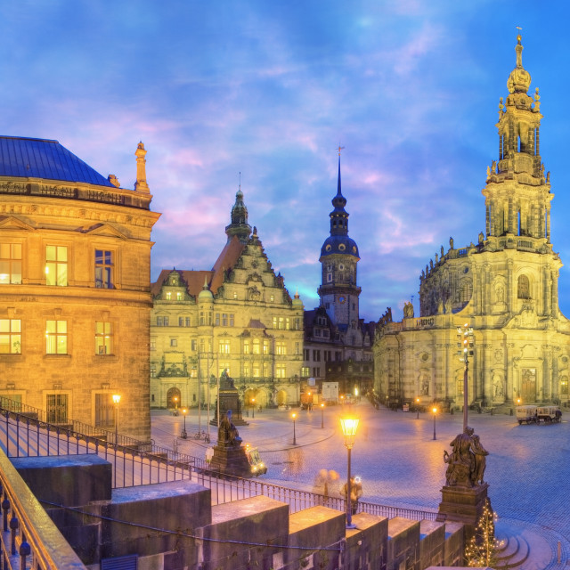 """""""The old city of Dresden at dusk"""" stock image"""