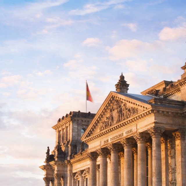 """""""The Reichstag in the late evening sunlight"""" stock image"""