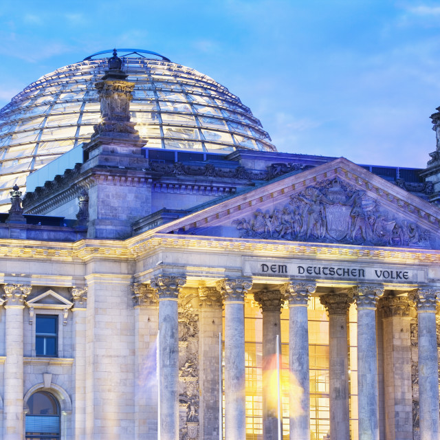 """""""Close-up of the front of the Reichstag Building at dusk"""" stock image"""