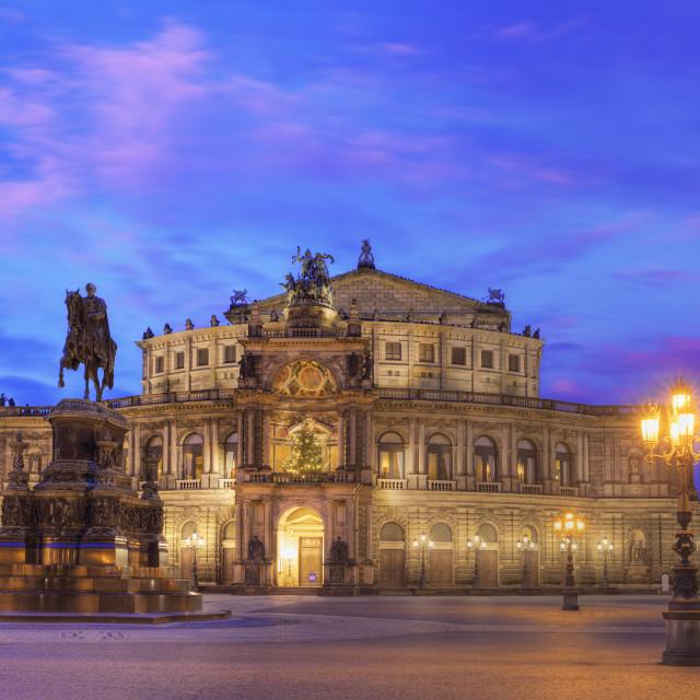"""Semper opera house at dusk"" stock image"