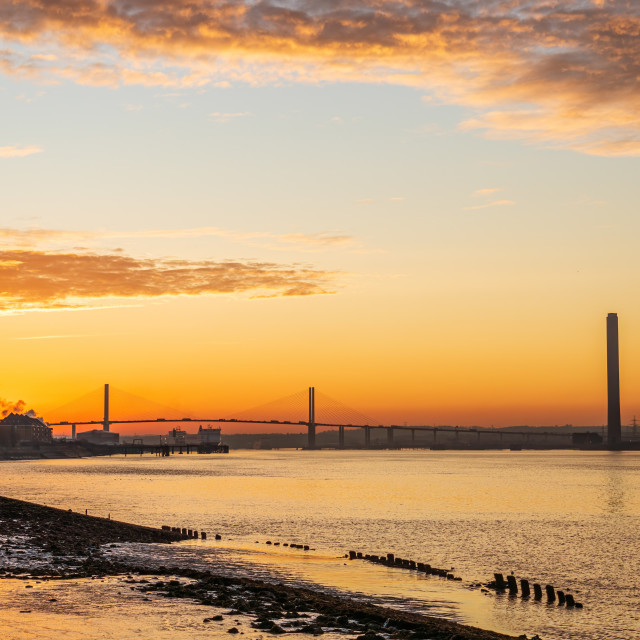 """""""The River Thames leading towards The Queen Elizabeth II bridge, early..."""" stock image"""