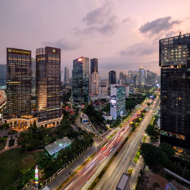 """Jakarta: Sudirman during peak hours"" stock image"