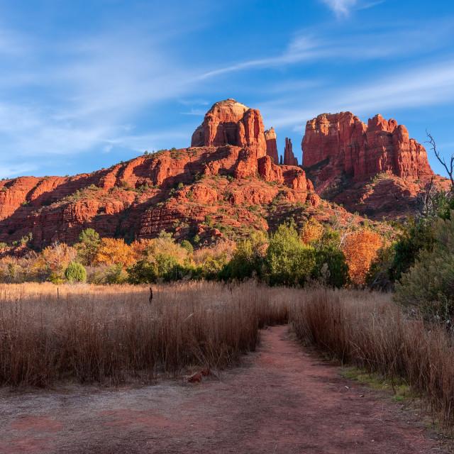 """Cathedral Rock at sunset in Sedona, Arizona"" stock image"