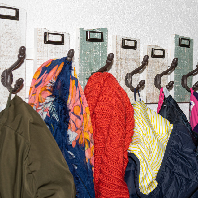 """""""Coat. Hook. Clothing. Wooden. Deco. Wall"""" stock image"""