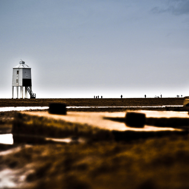 """""""Burnham Lighthouse from the Tank Traps"""" stock image"""