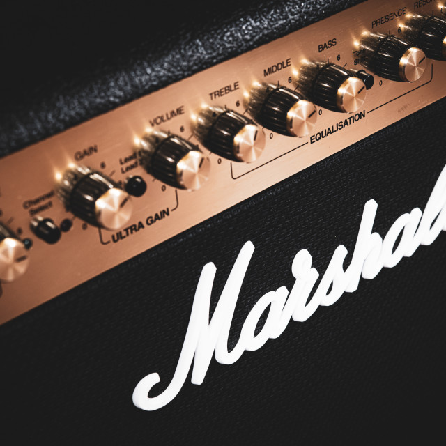 """Marshall stage guitar amplifier"" stock image"