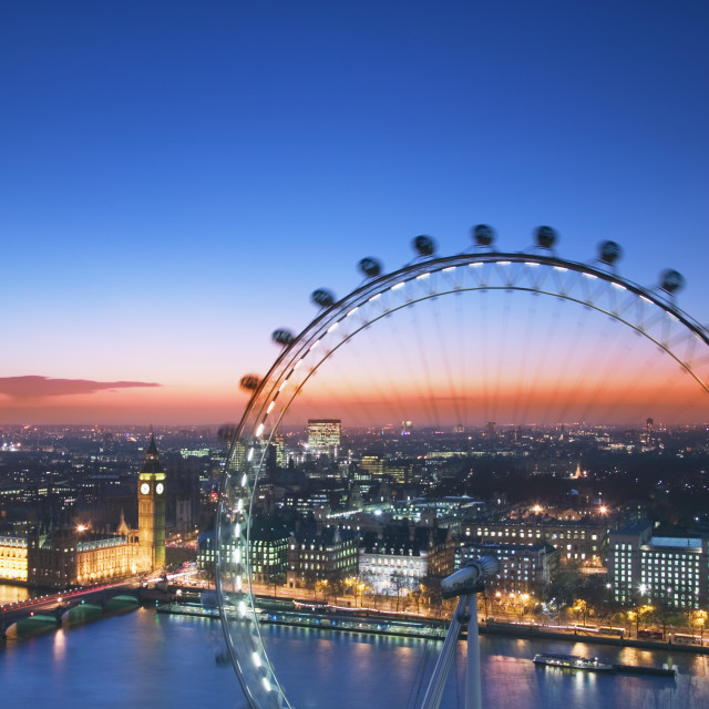"""""""Houses of Parliament and London Eye at dusk"""" stock image"""