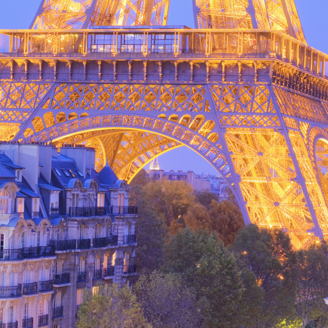 """""""High view of lower section of Eiffel Tower"""" stock image"""