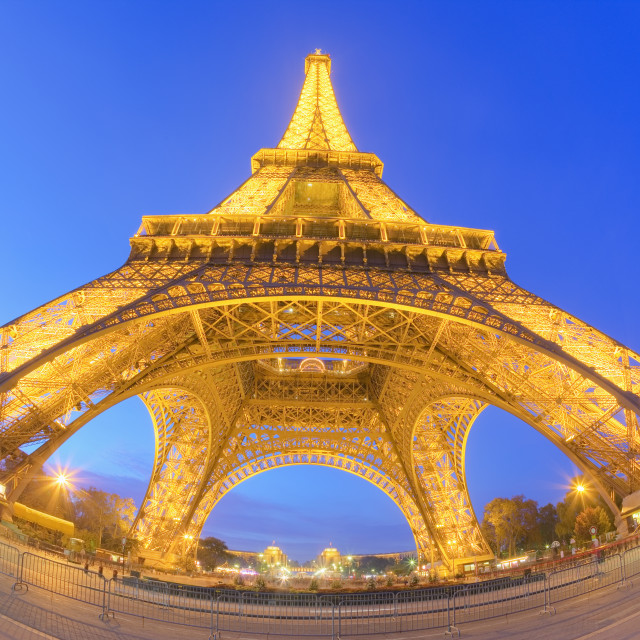 """""""Fisheye view of the Eiffel Tower at dusk"""" stock image"""