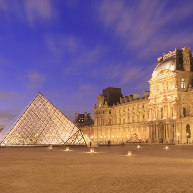 """""""Musee du Louvre at dusk"""" stock image"""